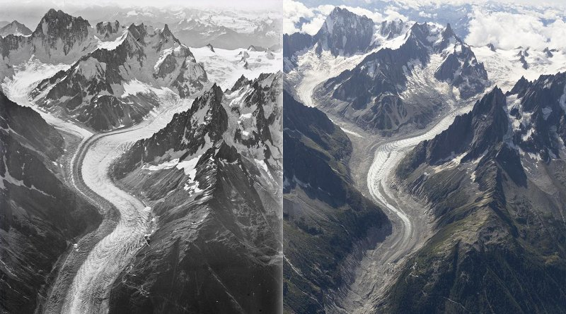 Comparison composition that shows Mer de Glace glacier from 1919 (left) to 2019 (right, in colour) Credit Walter Mittelholzer, ETH-Bibliothek Zürich & Dr Kieran Baxter, University of Dundee