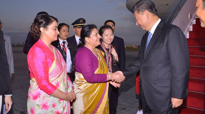 China's President Xi Jinping with Nepal's President Bidhya Devi Bhandari. Photo Credit: Nepal Ministry of Foreign Affairs