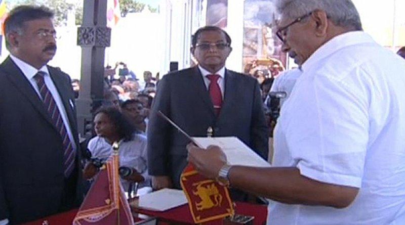 Gotabaya Rajapaksa sworn-in as Sri Lanka's president. Photo Credit: Sri Lanka government