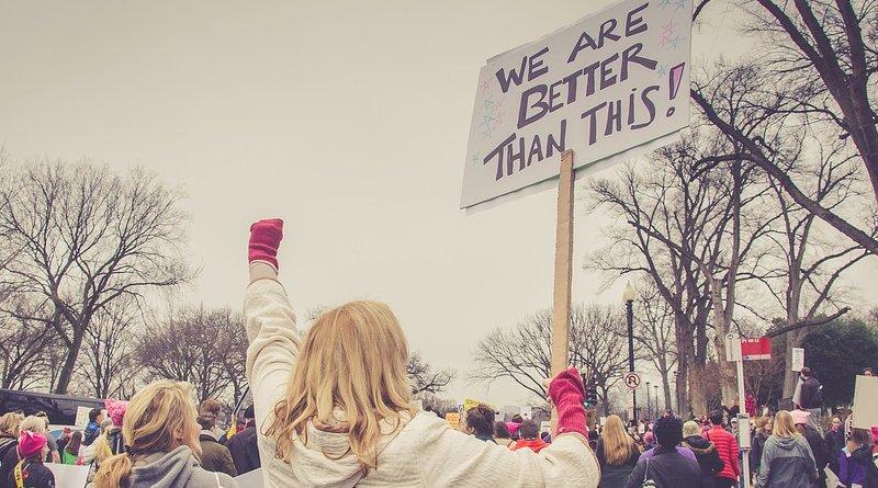 women protest trump racism