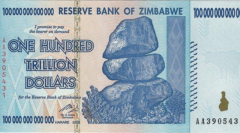 An old 100 trillion Zimbabwean dollar banknote. Photo Credit: Reserve Bank of Zimbabwe, Wikimedia Commons