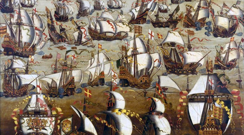 English ships and the Spanish Armada, August 1588. Credit: Author, Unknown, Wikimedia Commons