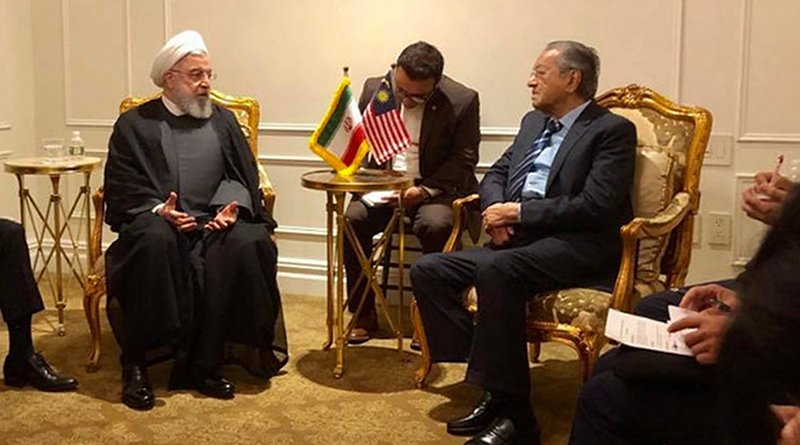 Malaysian Prime Minister Mahathir Mohamad meets with Iranian President Hassan Rouhani. Courtesy of the Prime Minister's Office