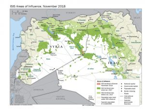 FIGURE 1. Islamic State of Iraq and Syria (ISIS) Areas of Influence as of August 2018. (U.S. Department of State)
