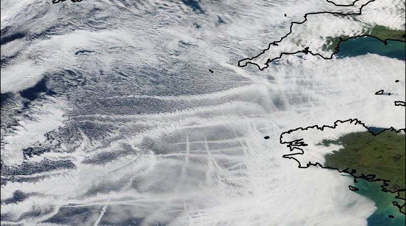 Ship tracks off the coast of Cornwall. Data from NASA CREDIT Edward Gryspeerdt/Imperial College London