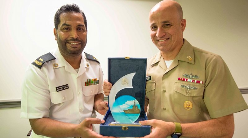 Master Chief Petty Officer of the Navy Russell Smith welcomes his Royal Saudi Arabian Navy counterpart, Mohammed Al-Bahar in the Pentagon. Photo Credit: Navy Petty Officer 1st Class Sarah Villegas