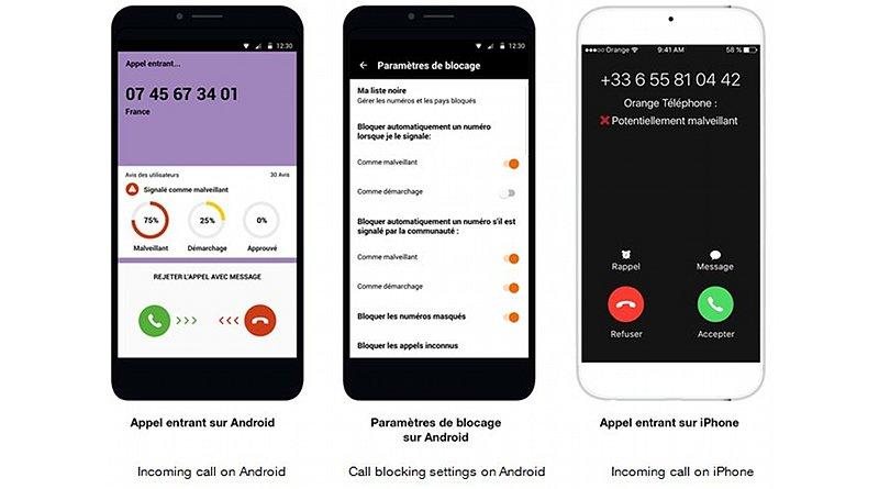 orange smartphone blocks unwanted callers