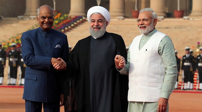 """Indian President Ram Nath Kovind (left), Iranian President Hassan Rouhani (centre) and Prime Minister Narendra Modi on 17 February 2018 in New Delhi. The three-day """"substantive and productive"""" talks helped boost cooperation in areas of defense and security, trade and investment, and energy. Rouhani and Modi also deliberated on regional situations in their wide-ranging talks. Credit: media.mehrnews.com"""
