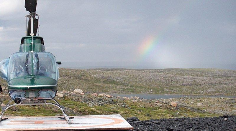canada tundra helicopter rainbow