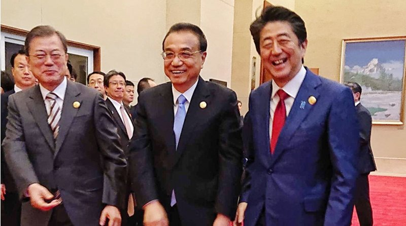 South Korea's President Moon Jae-in, China's Premier Li Keqiang and Japan's Prime Minister Shinzo Abe. Photo Credit: Japan PM Office, Twitter
