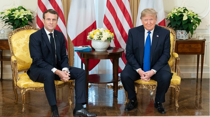 President Donald J. Trump participates in a pre-bilat discussion with President Emmanuel Macron of France Tuesday, Dec. 3, 2019, at Winfield House in London. (Official White House Photo by Shealah Craighead)