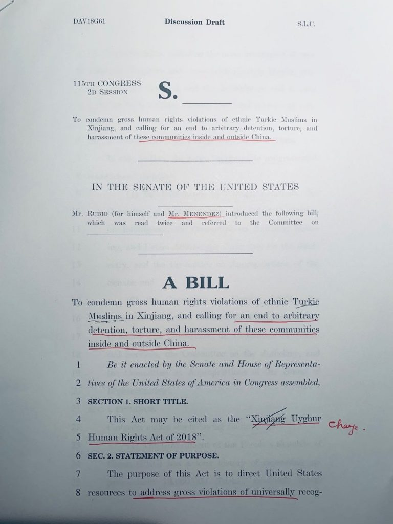 """Front page of the draft the """"Uyghur Xinjiang Human Rights Policy Act of 2018″. The markup is in Nury Turkel's hand, and requests removal of the term """"Xinjiang"""" from the title. This request was acted upon, and the bill redrafted as the """"Uyghur Human Rights Policy Act of 2018,"""" introduced by Senator Marco Rubio in November 2018. (Photo from Anders Corr)"""