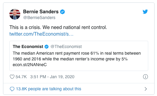 bernie sanders tweet housing rent control