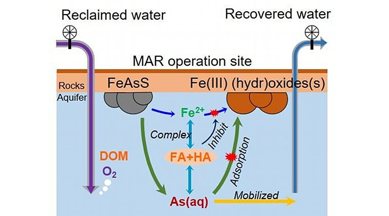 In this diagram, Young-Shin Jun, professor of energy, environmental and chemical engineering at the McKelvey School of Engineering, demonstrates how it is that the perfectly potable water used to recharge an aquifer can become contaminated with dangerous levels of arsenic. CREDIT Jun Lab