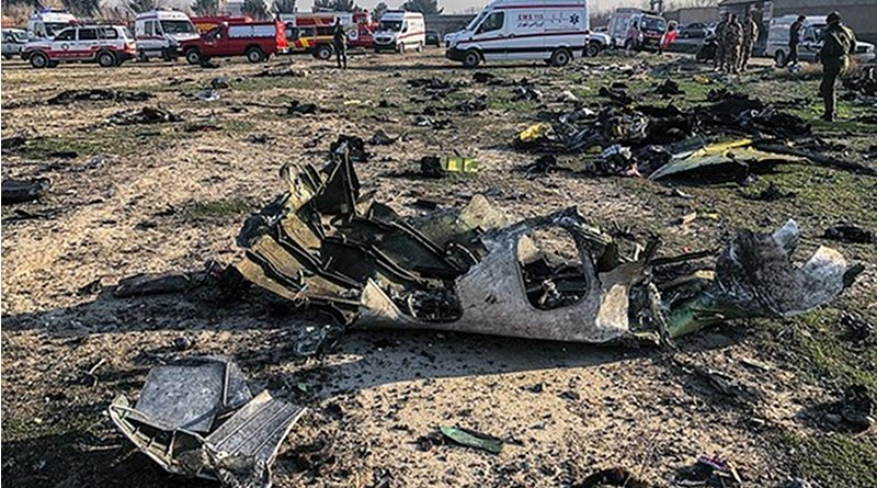 Wreckage from the Ukraine International Airlines Boeing 737-800 plane near Tehran, Iran. Photo Credit: Fars News Agency