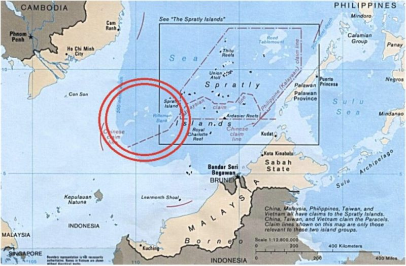 Standoff: Vanguard Bank area, circled in red, is an area of tension between China and Vietnam in the South China Sea (Source: Wikimedia Commons and Rand)