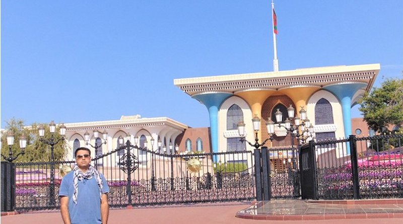 The writer in front of the Sultan's Al Alam Palace in Old Muscat. Credit: Manish Rai.