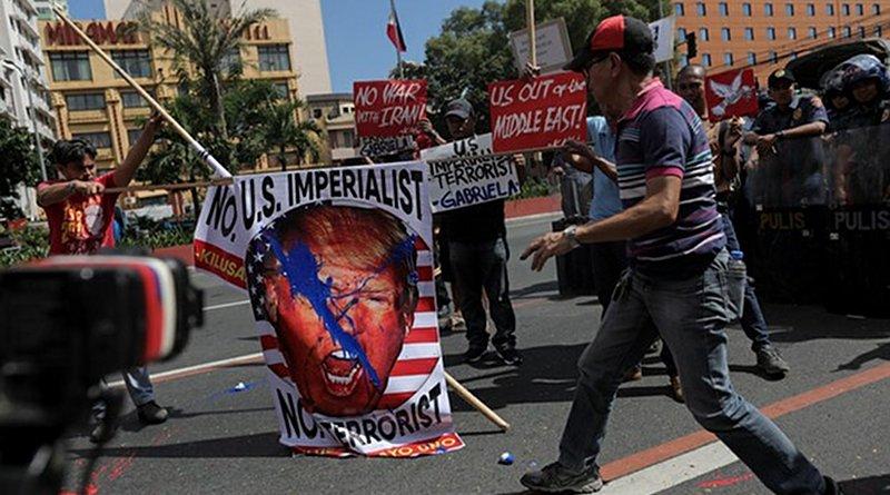 Filipinos protest the airstrike in Iraq that killed top Iranian military Maj. Gen. Qasem Soleimani, near the U.S. embassy in Manila, Jan. 6, 2020. Basilio Sepe/BenarNews