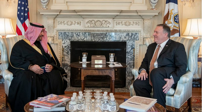 Secretary of State Michael R. Pompeo meets with Saudi Deputy Minister of Defense Khalid bin Salman Al Saud, at the Department of State, in Washington D.C., on January 6, 2020. [State Department photo by Freddie Everett/ Public Domain]