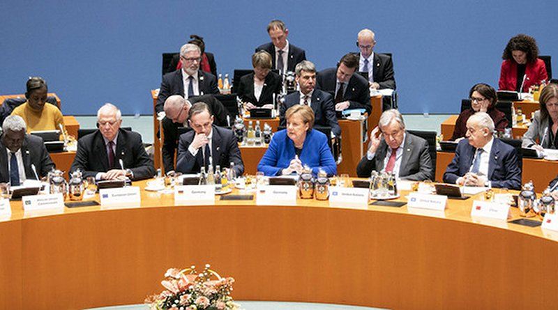 The German Chancellor, Angela Merkel, addresses the Berlin Conference on Libya alongside the UN Secretary-General António Guterres (r). Credit: Federal Government/Guido Bergmann.