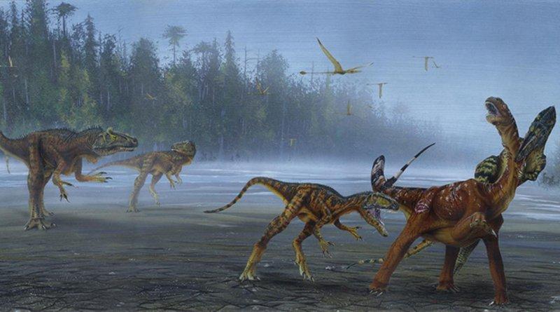 Allosaurus jimmadseni attack juvenile sauropod. CREDIT Todd Marshall