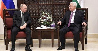 Russia's Vladimir Putin with President of the State of Palestine Mahmoud Abbas. Photo Credit: Kremlin.ru