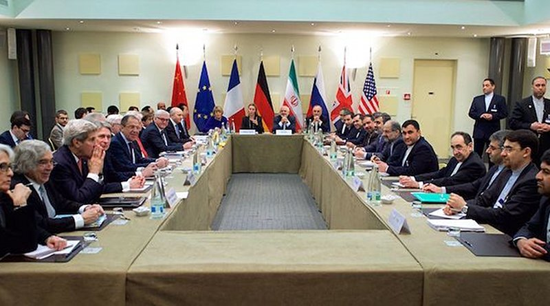 The ministers of foreign affairs of the United States, the United Kingdom, Russia, Germany, France, China, the European Union and Iran meeting in Lausanne in March 2015, a few weeks ahead of the nuclear deal was struck in Vienna. Credit: U.S. Department of State.