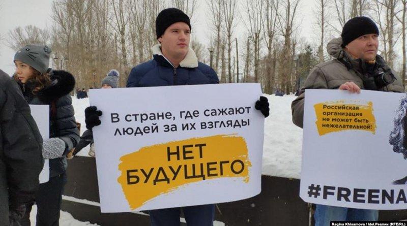 Activists in support of Shevchenko in Kazan, Russia. © 2020 Radio Free Europe/Radio Liberty
