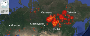 Satellite analysis: Wildfires flared in late July in Siberia, which represents about 70 percent of Russia's territory and 20 percent of population (Source: Google, ScanEx, NASA, BBC)