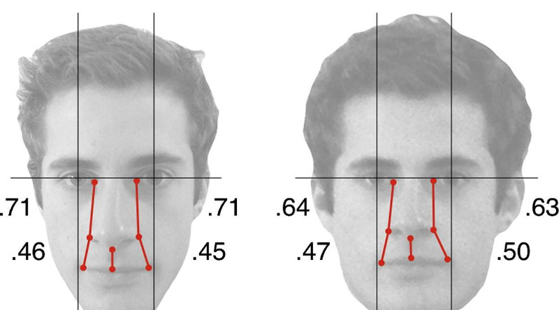 This is the same person's identity but captured at two different distances. The distance between features of a face varies as a result of the camera-to-subject distance manipulation demonstrating that anthropometry, which is the measurement of facial features from images, is not a reliable method of identification