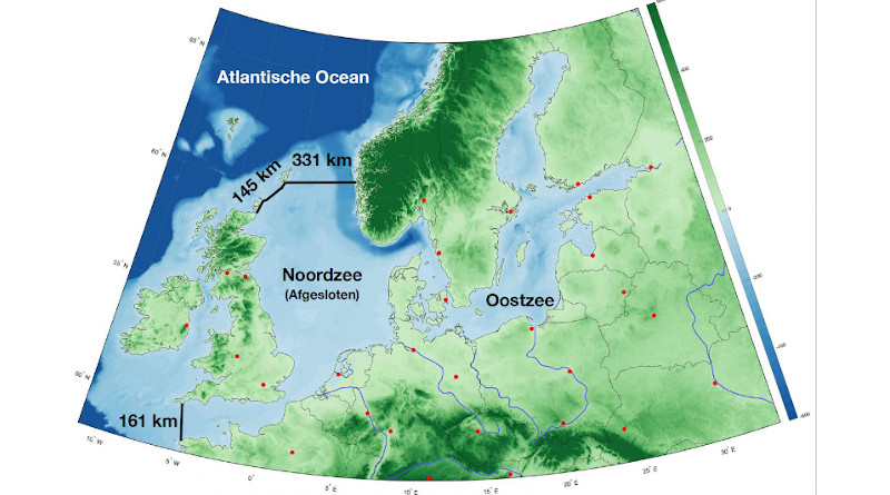 Northern European Enclosure Dam: over 600 km longer than the Afsluitdijk, technically feasible, but primarily intended to show the scale of future interventions if climate change continues. CREDIT NIOZ, Sjoerd Groeskamp