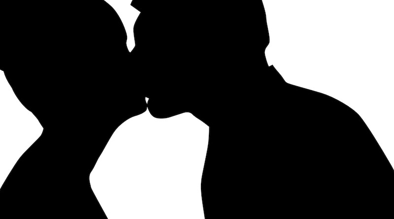Kiss Tenderness Couple Love Man Silhouette