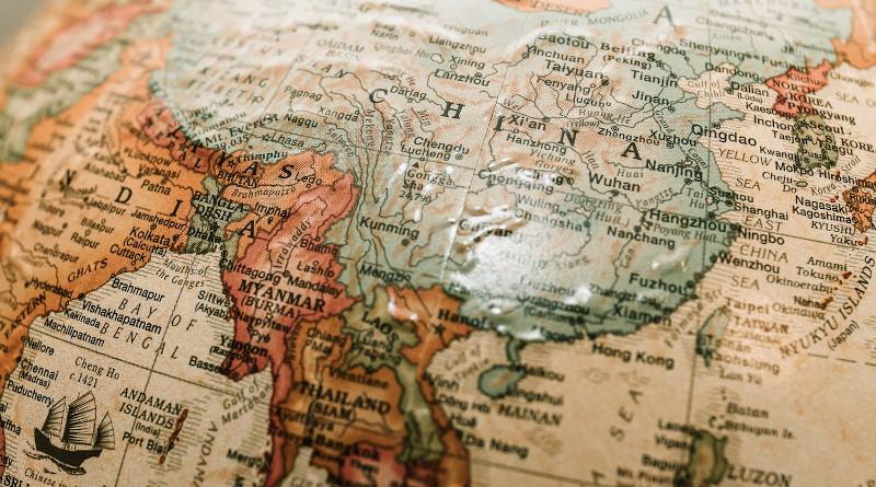 china asia map globe