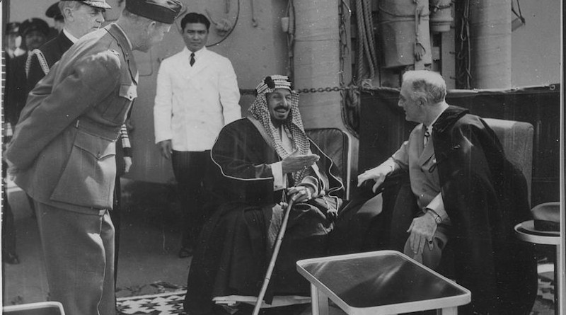 Franklin D. Roosevelt and King Ibn Saud of Saudi Arabia at Great Bitter Lake in Egypt on February 14, 1945. Photo Credit: U.S. National Archives and Records Administration, Wikipedia Commons