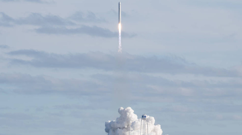 A Northrop Grumman Cygnus resupply spacecraft launched on an Antares 230+ rocket from the Virginia Mid-Atlantic Regional Spaceport's Pad 0A at Wallops at 3:21 p.m. EST Saturday, Feb. 15, 2020. Credits: NASA