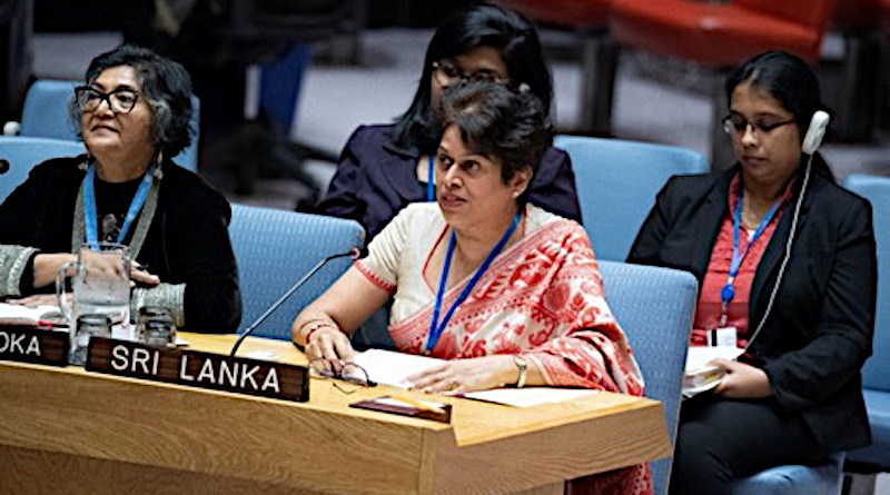 """Ambassador Kshenuka Senewiratne (right in the front) addressing one day debate at the UN Security Council titled """"Peacebuilding and Sustaining Peace: Transitional Justice in conflict and post-conflict situations"""" on 13 February 2020 in New York. Credit: Permanent Mission of Sri Lanka to the UN in New York."""