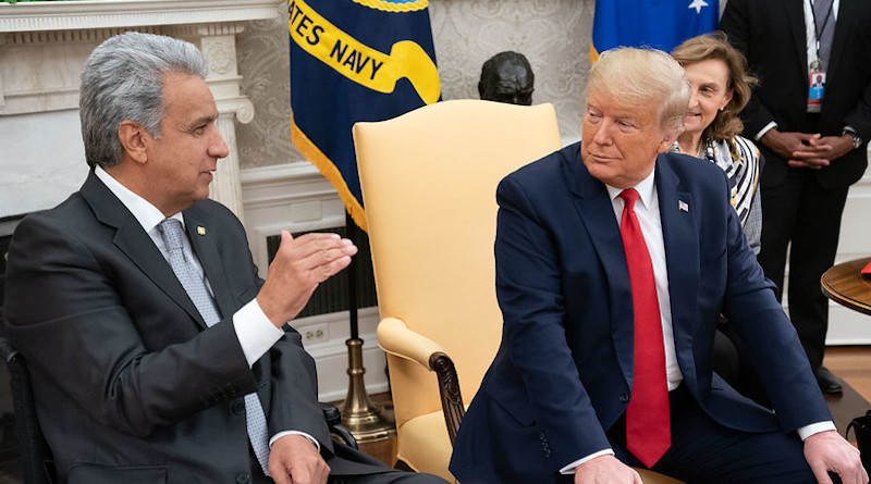 President Donald J. Trump, joined by Vice President Mike Pence, meets with Ecuadorian President Lenin Moreno Garces Wednesday, Feb. 12, 2020, in the Oval Office of the White House. (Official White House Photo by Joyce N. Boghosian)