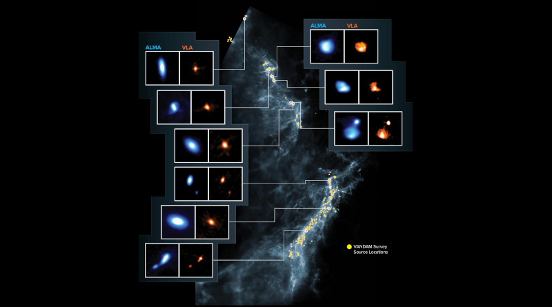 This image shows the Orion Molecular Clouds, the target of the VANDAM survey. Yellow dots are the locations of the observed protostars on a blue background image made by Herschel. Side panels show nine young protostars imaged by ALMA (blue) and the VLA (orange). CREDIT ALMA (ESO/NAOJ/NRAO), J. Tobin; NRAO/AUI/NSF, S. Dagnello; Herschel/ESA