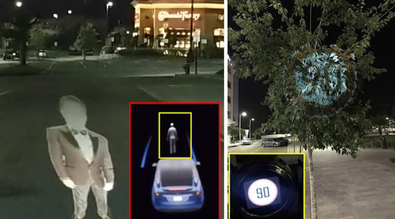In the Ben-Gurion University of the Negev Research Telsa considers the phantom image (left) as a real person and (right) Mobileye 630 PRO autonomous vehicle system considers the image projected on a tree as a real road sign. CREDIT Cyber@bgu