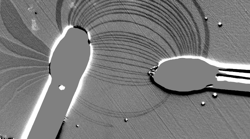 The flow of an electric current between two electrodes on a magnetic thin film are imaged by measuring the strip domains. © 2020 KAUST