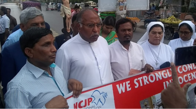 Members of the Catholic Church's National Commission for Justice and Peace attend a peace rally in Karachi city on March 1 in the wake of anti-Muslim riots in India. (Photo: Kashif Anthony Javeed)