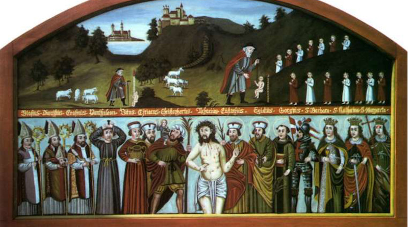 A depiction of the Fourteen Holy Helpers from Bavaria, 19th century, restored by Alois Liebwein. Public domain.