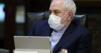 Iran's Foreign Minister Mohmmad Javad Zarif wears a protective mask as a means of protection against COVID-19 during a cabinet meeting in Tehran on March 11. Photo Credit: President.Ir