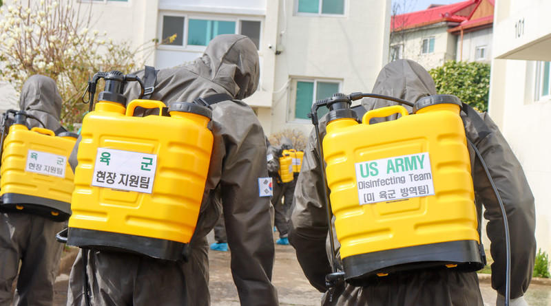 .S. Army and South Korean soldiers disinfect a COVID-19-infected area during a joint disinfecting operation in Daegu, South Korea, March 13, 2020. Photo Credit: Army Spc. Hayden Hallman