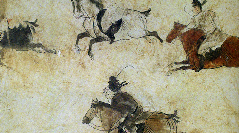 """""""Polo players at their game"""", detail on the west wall of a tomb pathway of Prince Zhang Huai's tomb, interred in 706 AD during the Tang Dynasty of China. The tomb is part of the larger Qianling Mausoleum near modern-day Xi'an (formerly Chang'an, the Tang capital). Source: Tang Li Xian Mu Bi Hua (1974), pl 15., Wikimedia Commons"""