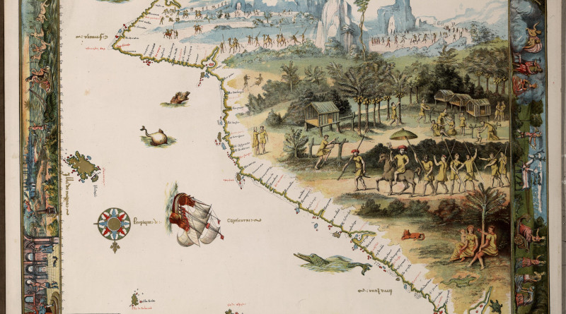 Detail of Jave la Grande's east coast: from Nicholas Vallard atlas, 1547. This is part of an 1856 copy of one of the Dieppe Maps. Copy held by the National Library of Australia. Credit: Wikipedia Commons