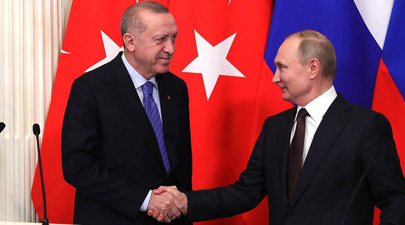 Russia's Vladimir Putin and Turkey's Recep Tayyip Erdogan giving statements to the press after Russian-Turkish talks. Photo Credit: Kremlin.ru