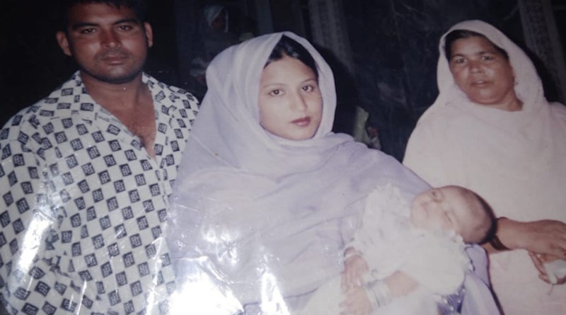 Huma Younus with her parents Younus and Nagina at her baptism in 2005. (Photo supplied)