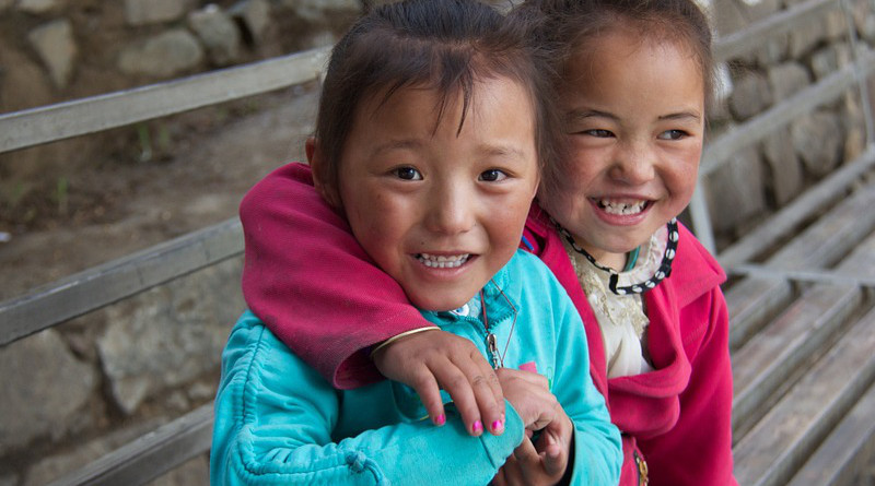 Girls Tibet Children Happy Smile Kids Nepal