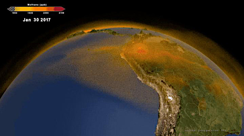NASA's new 3-dimensional portrait of methane shows the world's second largest contributor to greenhouse warming as it travels through the atmosphere. Combining multiple data sets from emissions inventories and simulations of wetlands into a high-resolution computer model, researchers now have an additional tool for understanding this complex gas and its role in Earth's carbon cycle, atmospheric composition, and climate system. The new data visualization builds a fuller picture of the diversity of methane sources on the ground as well as the behavior of the gas as it moves through the atmosphere. CREDIT NASA/Scientific Visualization Studio